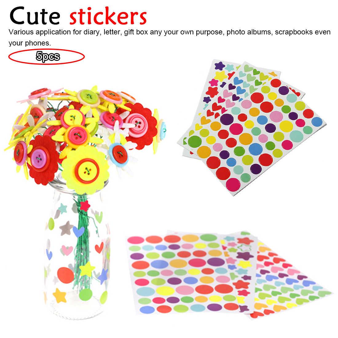 5 個かわいいカラフルなハート型のラウンド五角形ステッカー DIY ノートブックための装飾、子供のおもちゃ