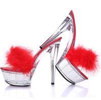 Women Sandals Summer New Paragraph Transparent Crystal Super High Heel 15 cm Platform 5 cm Slipper Female Fun Fur Slippers Shoes