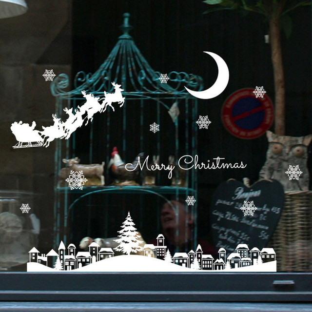 Christmas Restaurant Mall Decoration Snow Glass Window Removable Stickers merry christmas decoration