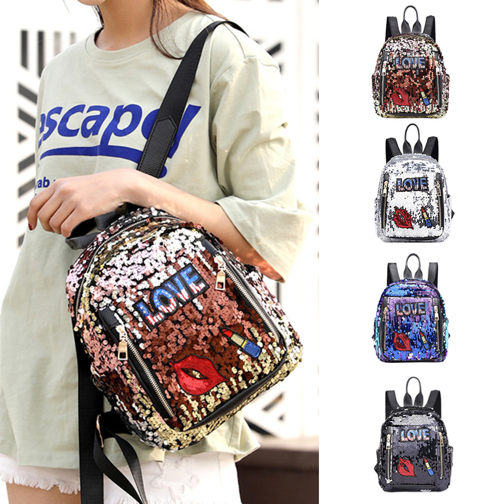 anti-theft backpack Fashion Girl Sequins School Bag Backpack Travel Shoulder Bag Wild Leisure Bag Preppy Style Soft  Teenage