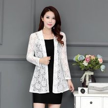 2019 Summer Women Casual Kimono Cardigan Female White Shirt Lace Blouse Crochet Blouse Office Kimono Women Plus Size Top 4XL XXL(China)