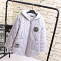 3XL 4XL 5XL Plus Size Women Winter Parkas Casual Badge Loose Long Style Patchwork Hooded Parka Black Gray Outerwear KK1904
