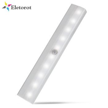 Czujnik ruchu noc światło Potable 10 LED szafy lampy zasilane bateryjnie Wireless Cabinet IR podczerwieni Motion Detector ściana Lampa tanie i dobre opinie Lampki nocne Motion czujnik PIR Night Światło CCC CE EMC Eletorot Sucha bateria Nocne światło 0-5W Awaryjnego Żarówki LED