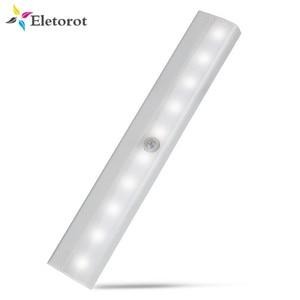 Motion Sensor Night Light Potable 10 LED Closet Lights Battery Powered Wireless Cabinet IR Infrared Motion Detector Wall Lamp(China)