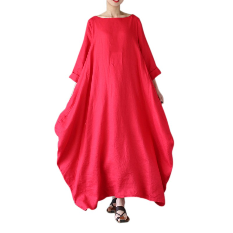 Women Loose Large Hem Dress O-neck White Boho Shirt Dress 3/4 Sleeve Maxi Robe 2018 Summer Plus Size Dresses