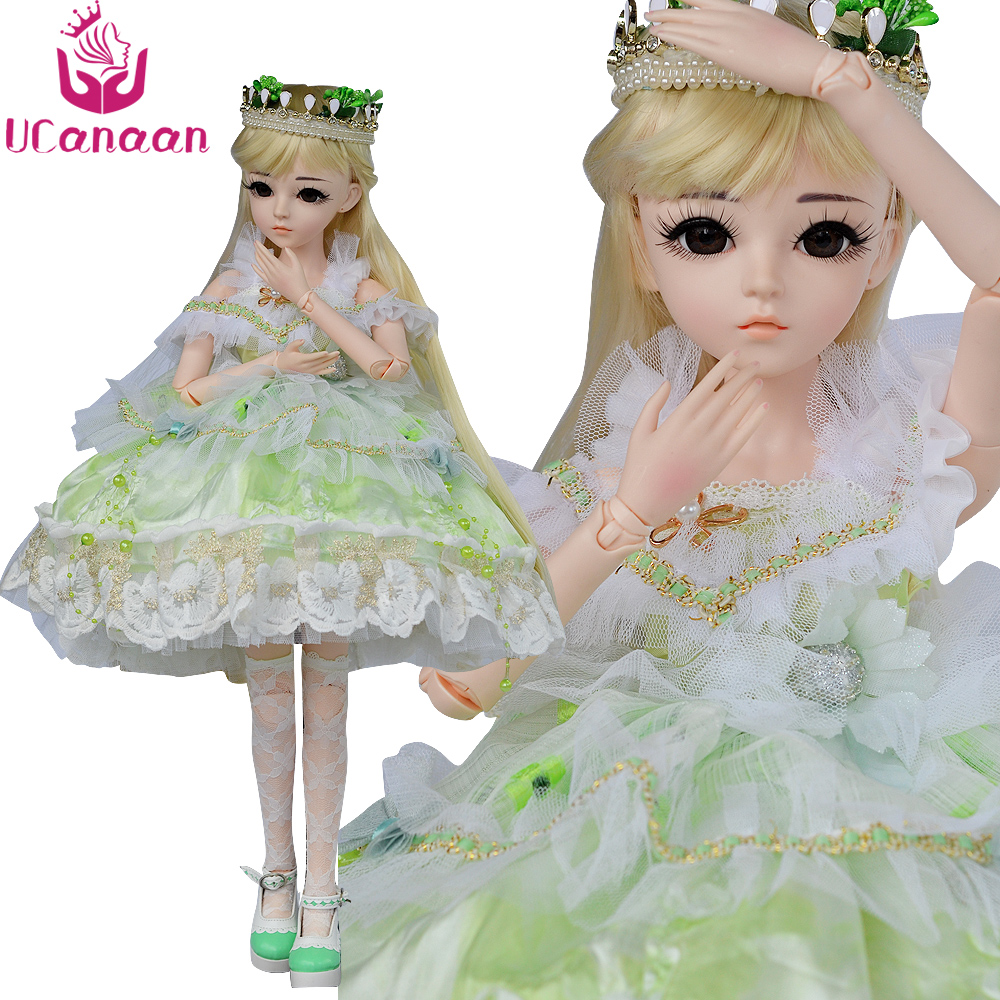 UCanaan 60CM Large BJD Doll 24'' 1/3 SD Dolls With Beauty Dress Shoes Wig Makeup Full Outfits 18 Ball Jointed Dolls For Girls synthetic bjd wig long wavy wig hair for 1 3 24 60cm bjd sd dd luts doll dollfie cut fringe