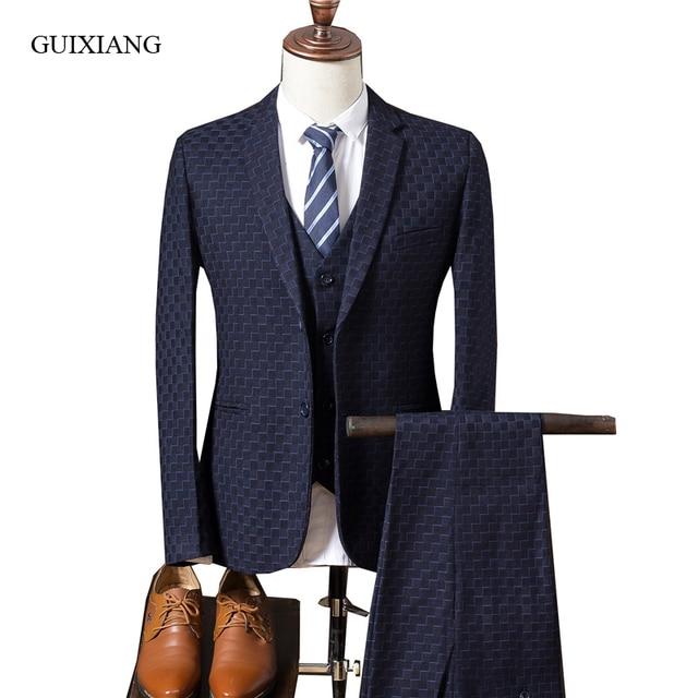 New Arrival Style Men Boutique Suit Business Casual Plaid Men S