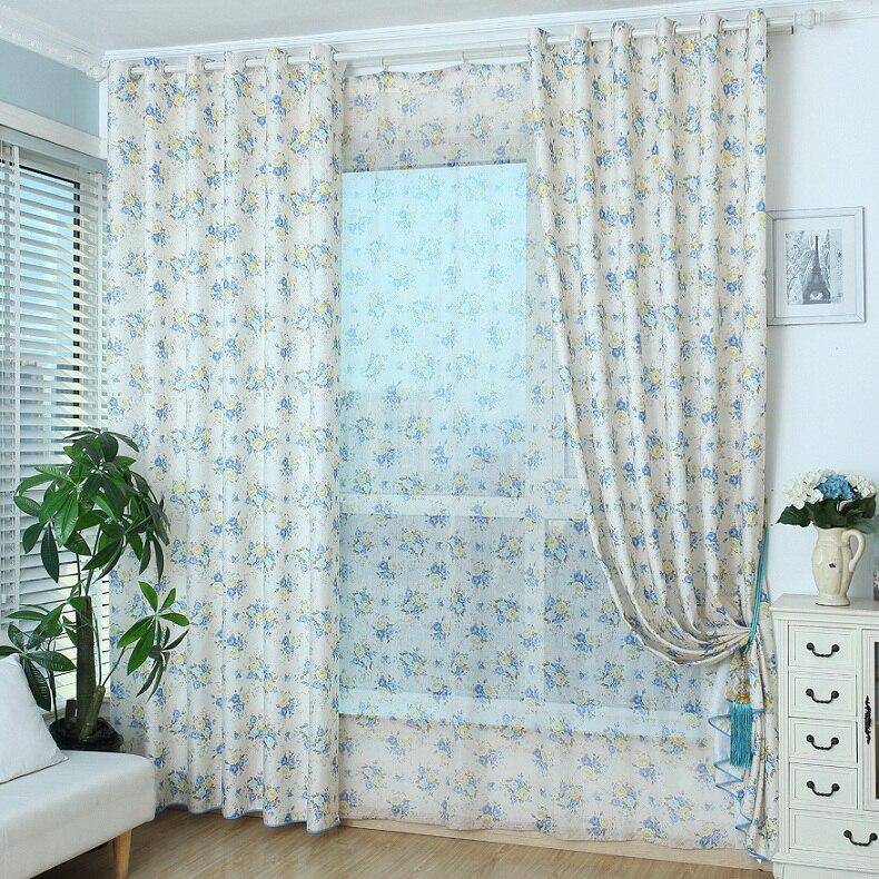 Tende blu americano stile pastorale floreale personalizzata cotone linea tende camera da letto - Finestre stile americano ...