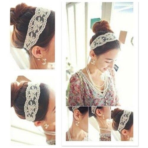 Hot Elegant Fabric Lace Wide Stretch Headband Romantic Hairwear Retro Cotton Head 5BUV 7GA5