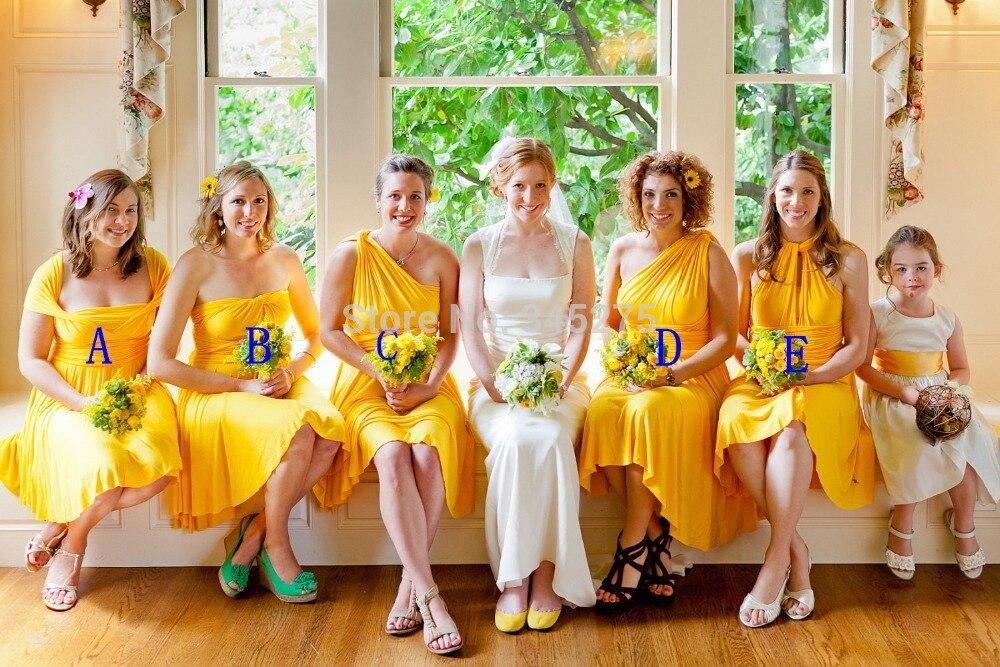 Popular Yellow Chiffon Bridesmaid Dresses-Buy Cheap Yellow Chiffon ...