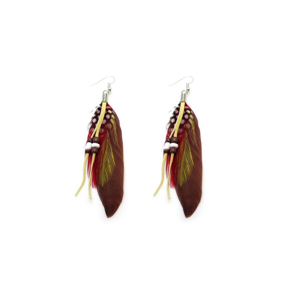 66 paire 11 couleur mode eté Style boucles d'oreilles femme Dangle boucles d'oreilles mode ethnique coloré naturel plume boucles d'oreilles Er103-in Boucles d'oreilles pendantes from Bijoux et Accessoires    2