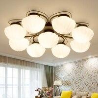 Los Estados Unidos Continental caliente led lámpara de conchas para el techo turquesa de cristal dormitorio lámpara de techo moderna sala de estar minimalista CL