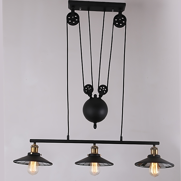 Loft American Vintage Iron Lamp Can Lift Pulley Mahjong Dining Room Pendant Light Retractable Bar