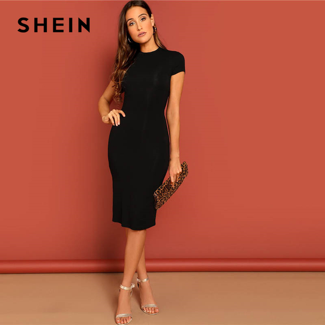 SHEIN Black Stand Collar Solid Natural Waist Stretchy Bodycon Dress Women Summer Elegant Short Sleeve Slim Fitted Pencil Dresses 3