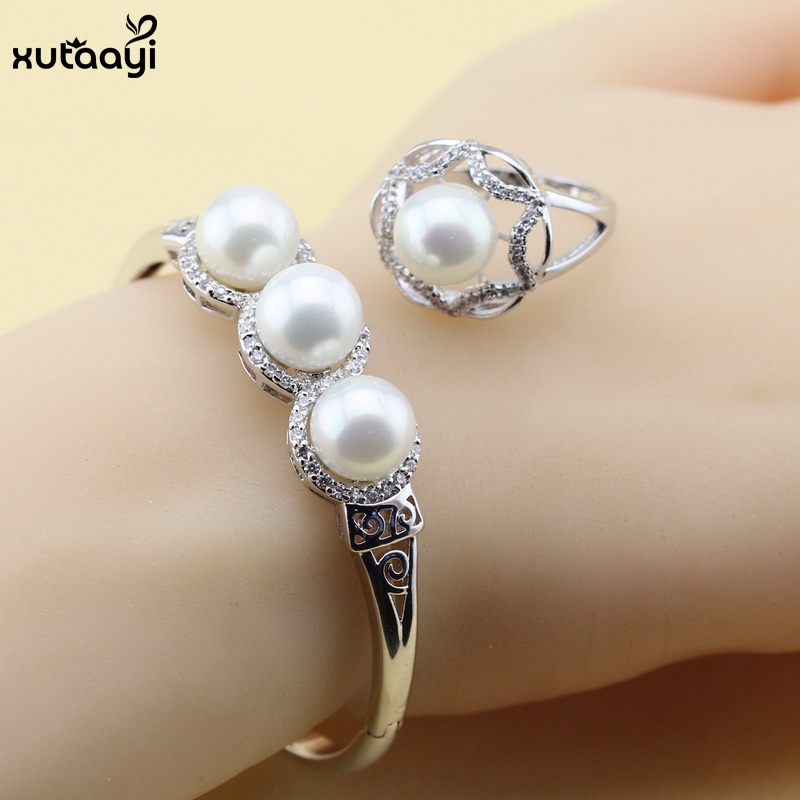 Fashion 925 Silver Jewelry Sets Imitation Pearl Jewelry Set Luxury White Crystal Bracelets Rings For Women