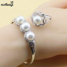 Moda 925 Plata de La Joyería, Joyería de Perlas de imitación Set de Lujo Pulseras De Cristal Blanco Anillos Para Las Mujeres
