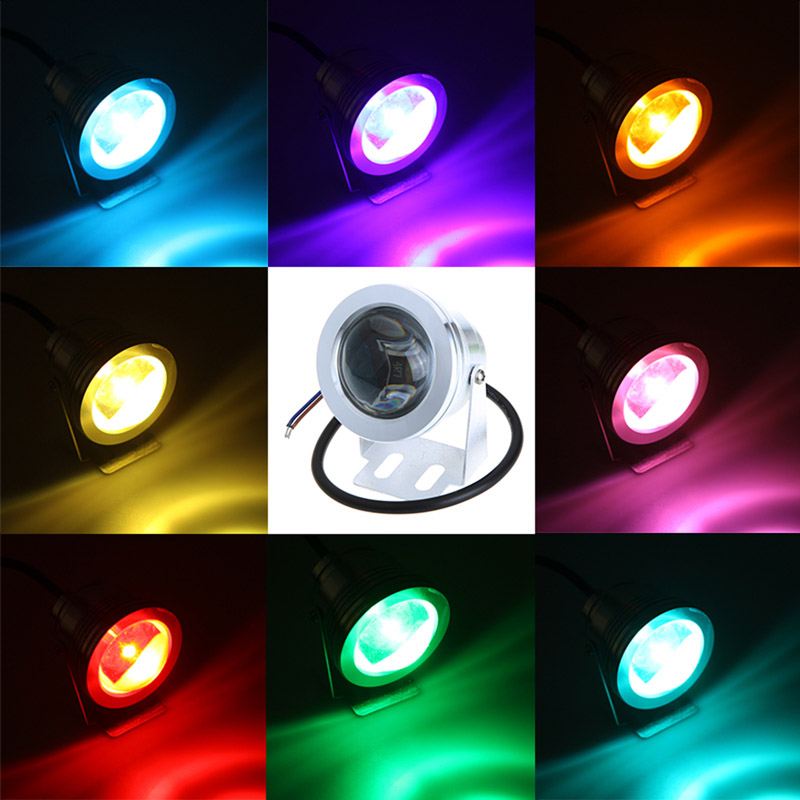 Waterproof Wired 10w Cob Led Spotlight Colorful Light 800lm dc 12v Silver