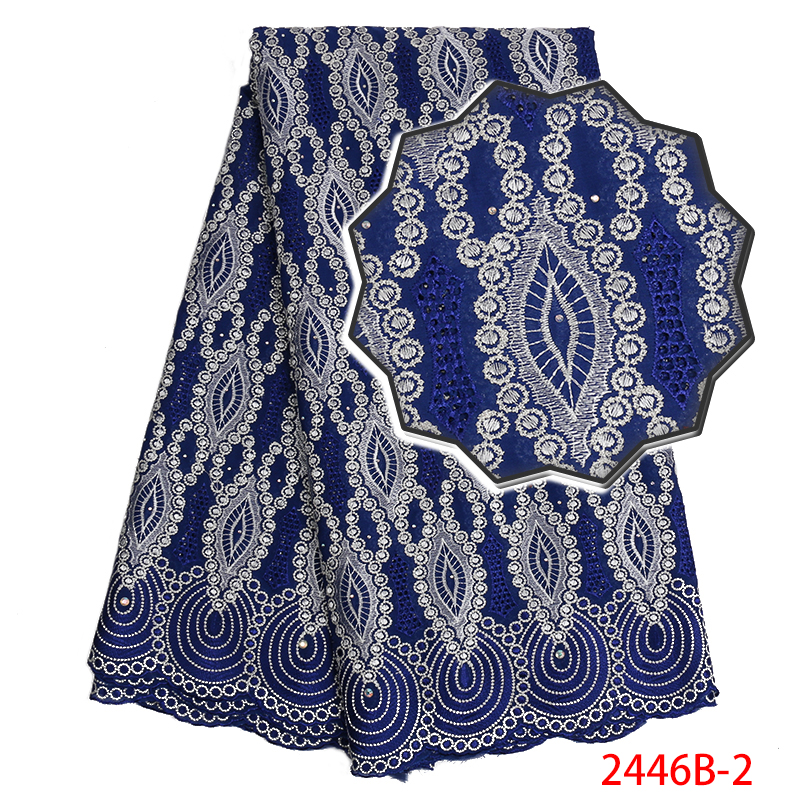Nigeria Lace Fabric High Quality,Latest Swiss Volie Cotton Lace Fabric, African Embroidered Lace Fabric With Stones KS2446B-2