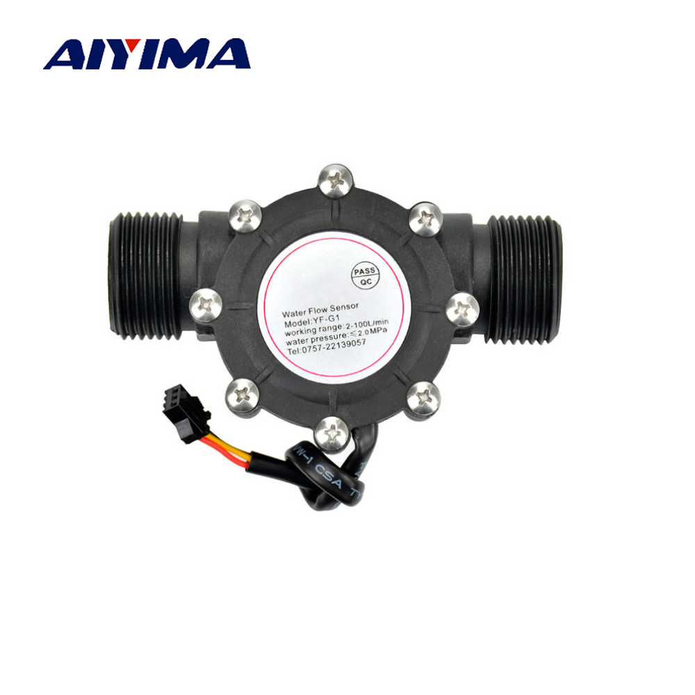 Aiyima1pcs Water Flow Sensor DN25 DC3.5-24V 1 Inch 2-100L/min Hall Flowmeter Heat Pump Water Heater Flow Meter Switch Counter