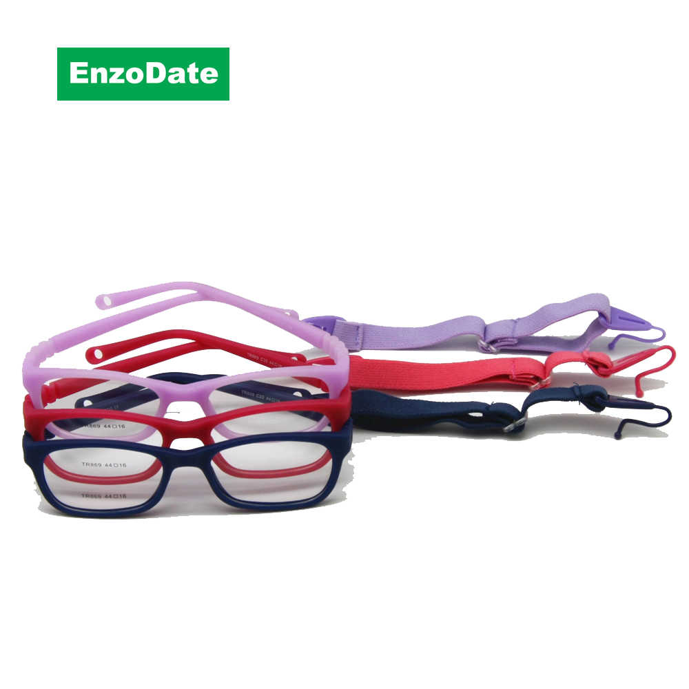 Kids Glasses Frame with Strap Size 44/16 One-piece No Screw 3-5Y, Bendable Optical Children Glasses for Boys & Girls
