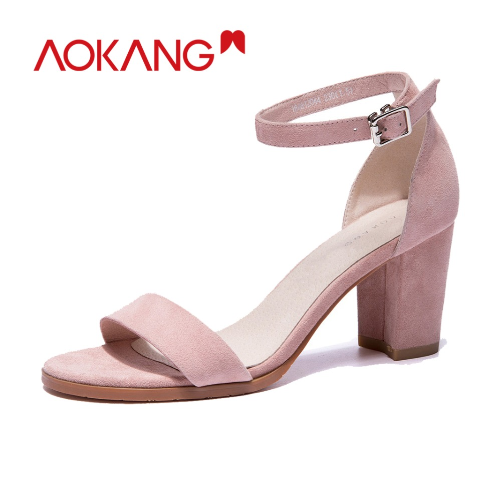 AOKANG รองเท้าแตะฤดูร้อนผู้หญิงรองเท้าส้นสูง sweet รองเท้าหญิงฤดูร้อนเด็ก suede ผู้หญิงฤดูร้อนรองเท้าของแท้ elegant รองเท้าผู้หญิง-ใน รองเท้าส้นสูง จาก รองเท้า บน   2