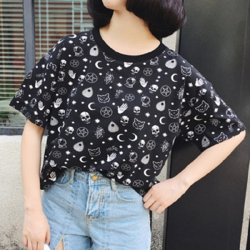 Goth shirt Gothic top women Moon Witchcraft Cat Shirts Harajuku Shirt Tops Loose Summer Skull T Shirt For Goth Girl