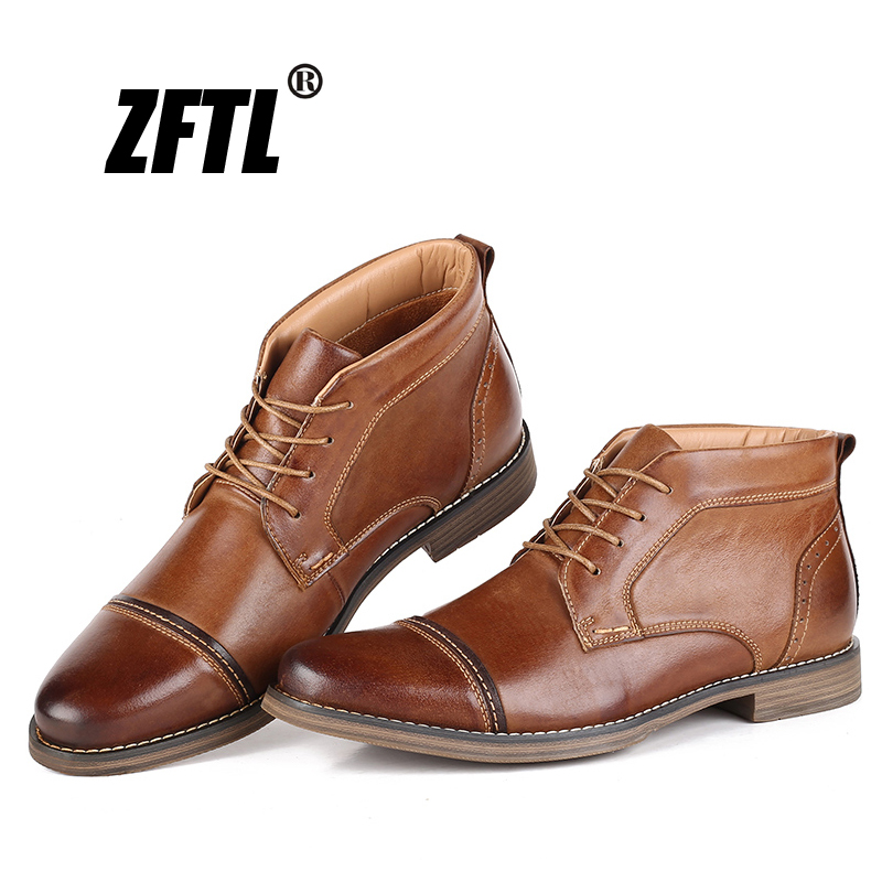 ZFTL New Men Martin boots Man Casual genuine Leather Ankle Boots Handmade Winter warm Male Booties Big Size Motorcycle Boots 015-in Motorcycle boots from Shoes    1