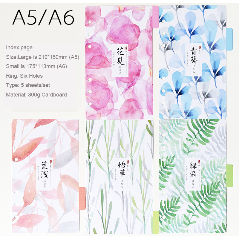 Japanese style Colourful Divider Index page Notebook Day Planner Accessories Bookmark 5 sheets/Set Cute diary school Stationery my beauty diary 10 page 5