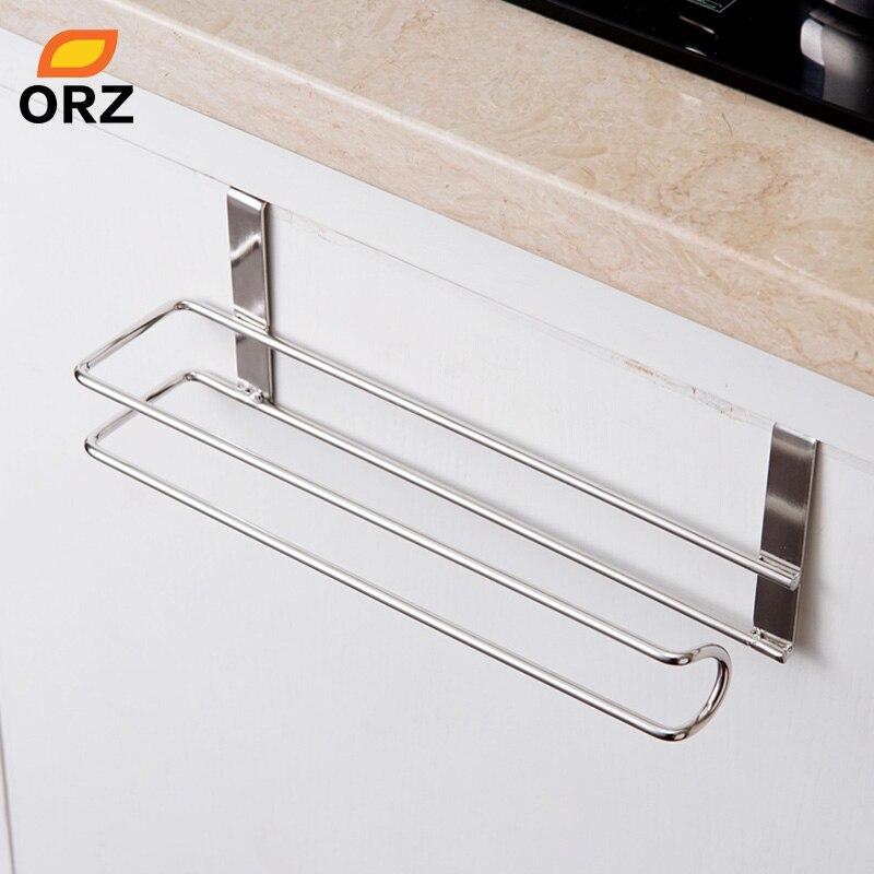 Stainless Steel Kitchen Tissue Holder Hanging Roll Tissue Paper Holder Towel Rack Paper Rack Kitchen Cabinet