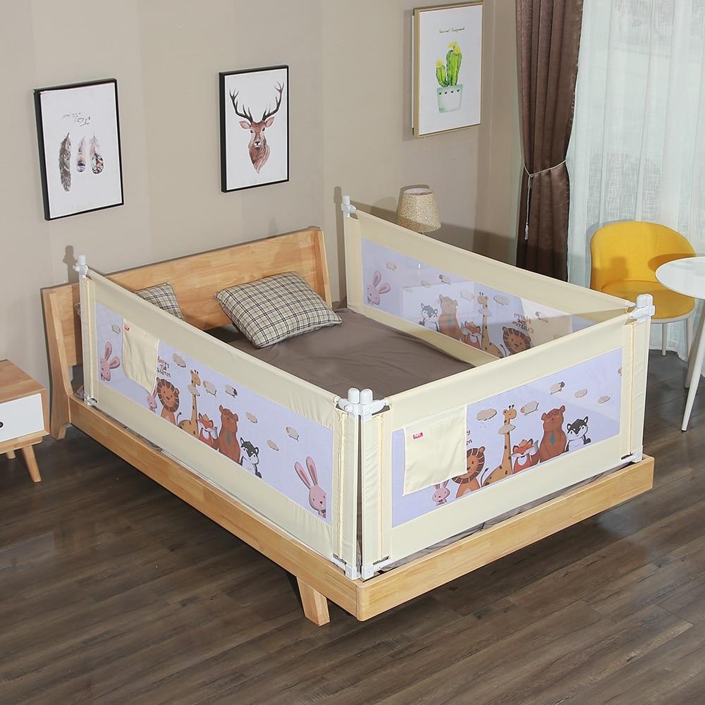 barrera de cama Ni/ños parachoques para cama barrera seguridad Cama Protecci/ón Plegable Universal ajustable de acero lacado Red transpirable Beige 2m