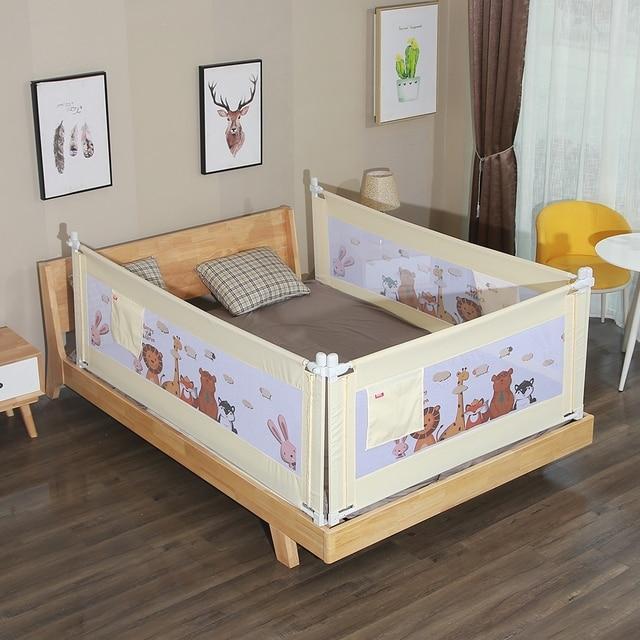 1.8M 1Piece Cartoon Newborn Baby Bed Guardrail Crib Rails Baby Safety Fence Guard Adjustable Bed Rail Infant Bed Pocket Playpen