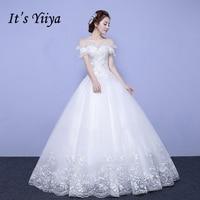 To Yiiya Sprzedaży Off Biały Krótki Rękaw Boat Neck Suknie Ślubne Frezowanie Bling Cekinami Sukienka Elegancka suknia Ślubna Tiul X079