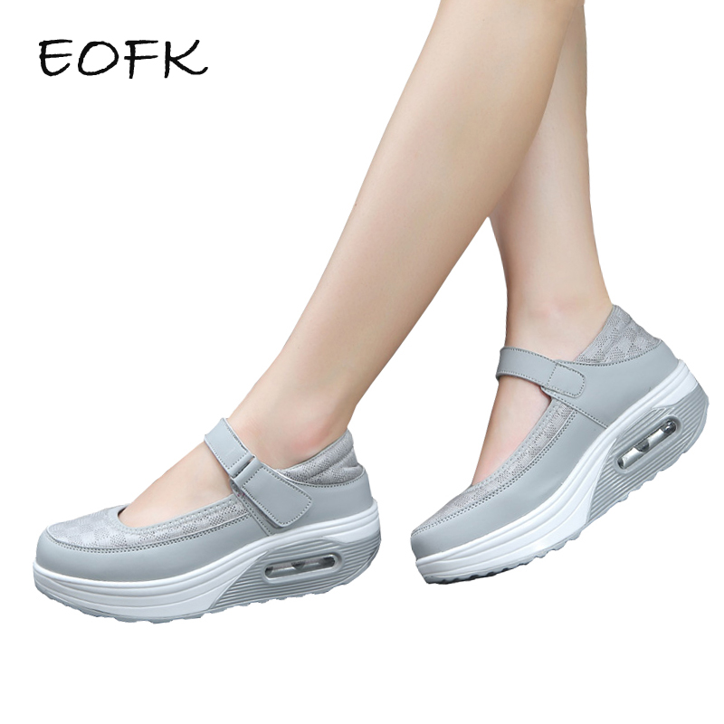 EOFK New Women Flats Platform Shoes Summer Breathable Mesh Casual Hook Loop Shoes Woman Shallow Patchwork