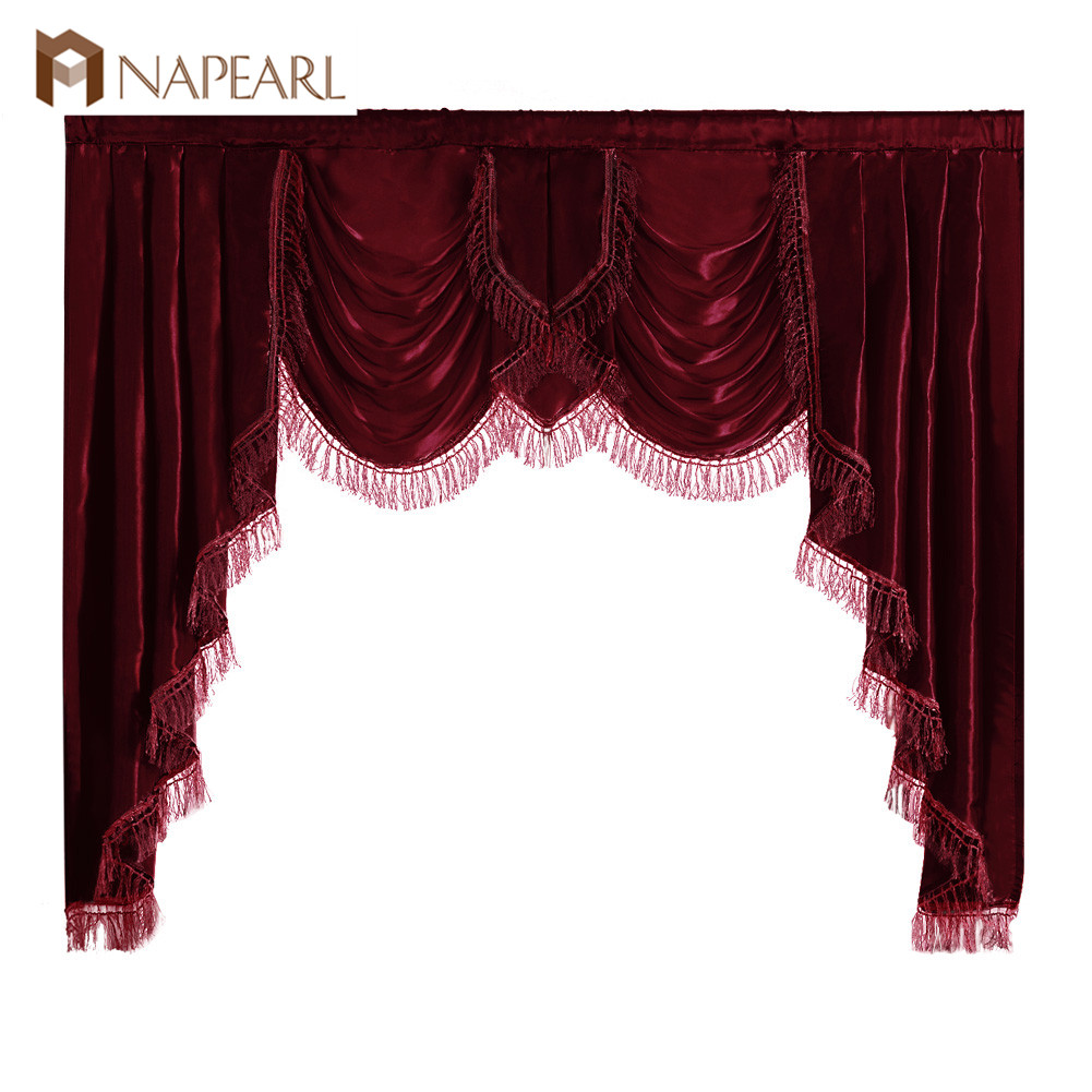 NAPEARL Luxury Valance Curtains Short Solid Color Drops For Bedroom European Style Semi Shade Fabric Elegant Panel Decor Rustic
