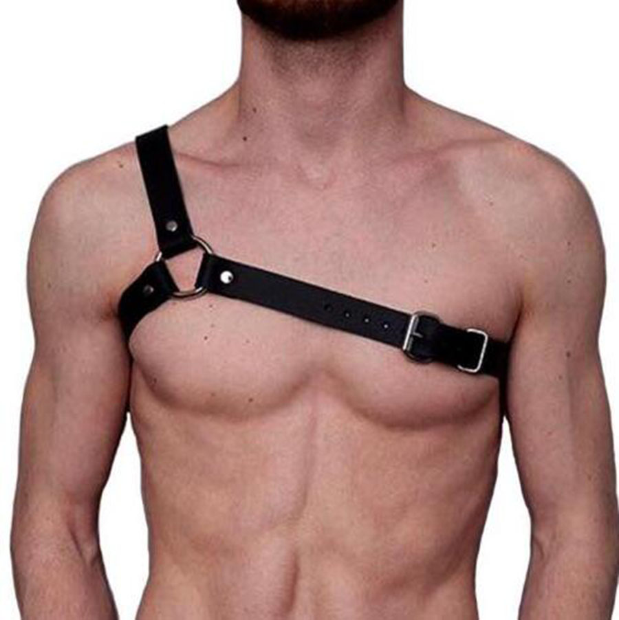 Men Strong Body Chest Harness Muscle Restrain Belt Costume Fancy Dress Bra Top