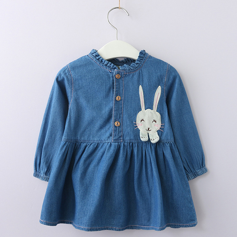 Girls Rabbits Dress 2018 New Style Children Cartoon Pattern Casual Printed Dress Design 3-7Y Baby Letter Autumn Clothes Dress menoea girls dress new 2018 clothes 100% summer fashion style cartoon cute little white cartoon dress kitten printed dress