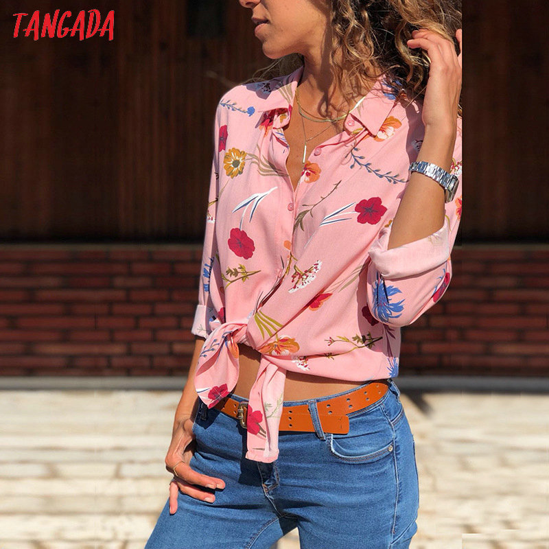 Tangada women blouse shirt floral autumn long lseeve boho chiffon blouse big size stripe casual ladies tops female clothing aon2 1