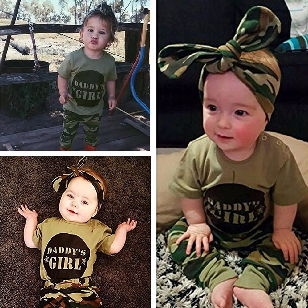 Infant Baby Daddys Girl Clothes Newborn Camouflage T-shirt Tops Pants with Bibs Casual Clothes Outfits Set ship from USA