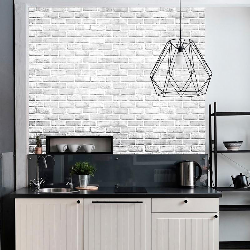3D белая кирпичная настенная бумага, рулон светильник-серой современной винтажной деревенской виниловой ПВХ искусственной кирпичной насте...