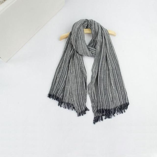 Spring Women and Men Scarf Cotton Linen Vintage Stripe Scarves Wraps 180*80cm 8Color 4