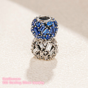 Image 4 - Winter 100% 925 Sterling Silver Chiselled Elegance Charm, Blue and Clear CZ beads Fit Original Brand Charms Bracelet DIY