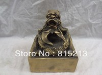wang 000201 China Chinese Bronze FengShui Dragon Head Unicorn Chop Statue Brass Seal Stamp