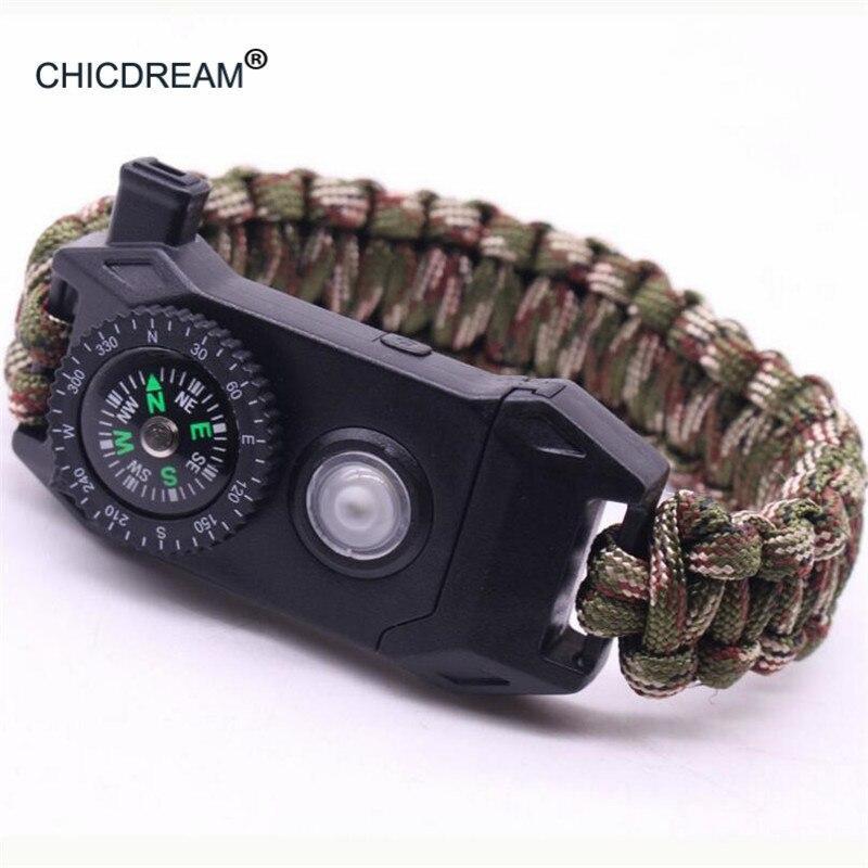 Military Survival Bracelet Men Multi-function LED SOS Paracord Bracelet Outdoor Camping Rescue Emergency Rope Braided Bracelets