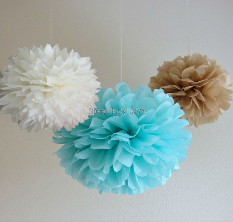 Aliexpress buy 12 mixed white blue tan brown party tissue aliexpress buy 12 mixed white blue tan brown party tissue pompoms paper flower pom poms wedding birthday nursery baby room decoration favor from mightylinksfo