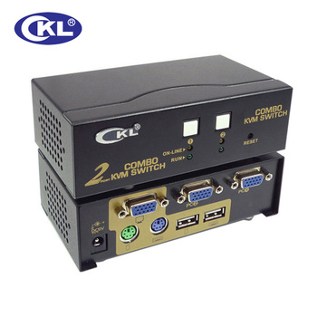 CKL 2 Port USB 2.0 PS/2 VGA KVM Switch with Cables Support Auto Scan, PC Monitor Keyboard Mouse DVR NVR Server Switcher CKL-82UP