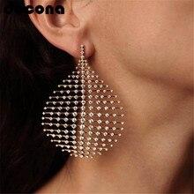 docona Large Geometric Drop Dangle Earrings for Women Girl Hollow Crystal Pendant Earring Statement Jewelry Pendientes 3714