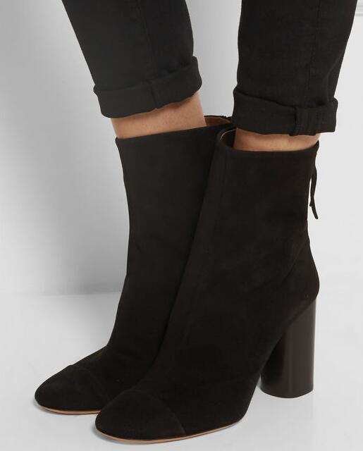 Модные новые зимние сапоги ботинки из замши круглый носок однотонные ботильоны женская обувь на молнии новые туфли на высоком каблуке пост...