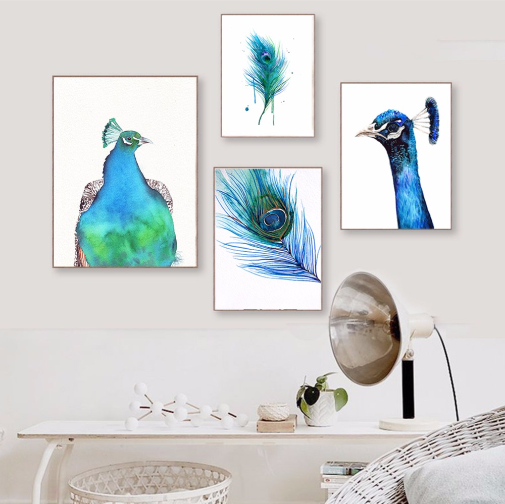Watercolor Blue Peacock Feather Poster Painting Nordic