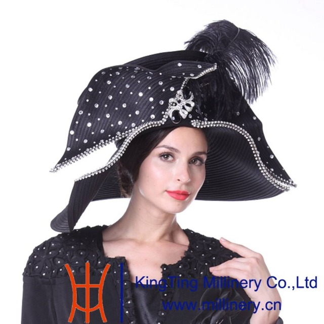 Kueeni Women Church Hats Couture Hats For Special Occasion Special Hats  Black Color Wide Brim Large Size Feather Party Fedoras d0e8d9e75e9