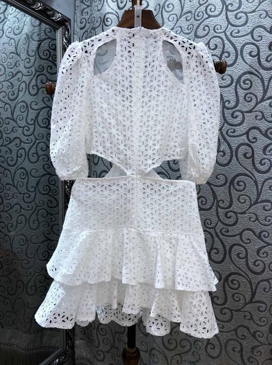 Taille Feuille Et Garniture Bord De Au Irrégulière L'eau Col Blanc Creux Du Début 20191201 Rond Avec Soluble Dans Lotus Robe Printemps F70xqOzw